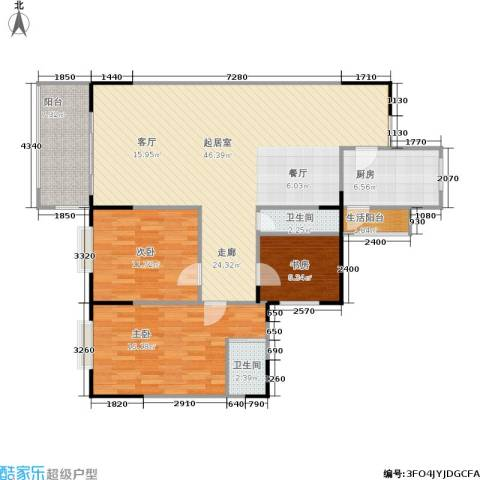 东海花园3室0厅2卫1厨108.00㎡户型图