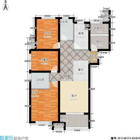 保利香槟国际3室1厅2卫1厨132.00㎡户型图