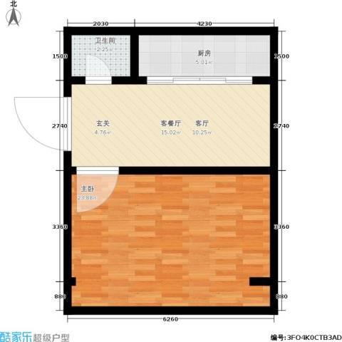 永丰巷1室1厅1卫1厨53.00㎡户型图