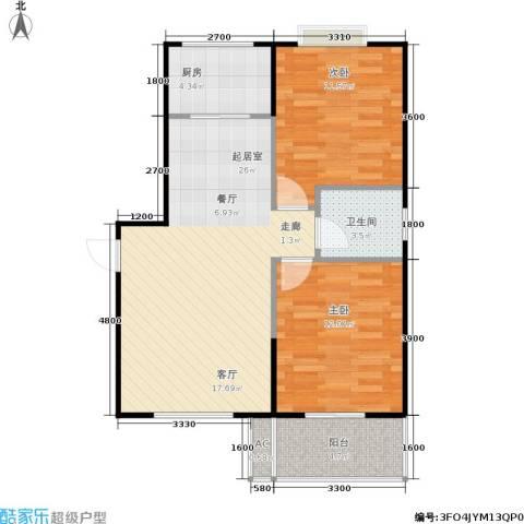 八水御源2室0厅1卫1厨83.00㎡户型图