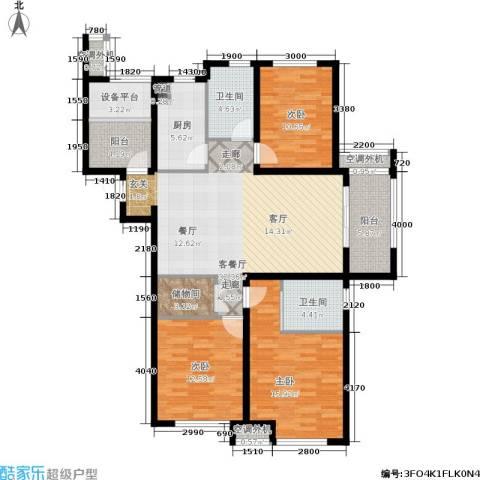 保利香槟国际3室1厅2卫1厨141.00㎡户型图