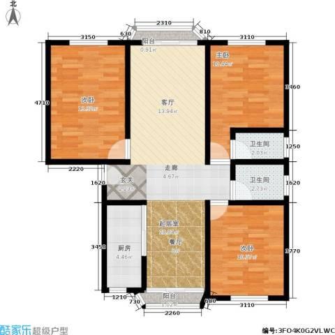 三塘北村3室0厅2卫1厨85.00㎡户型图