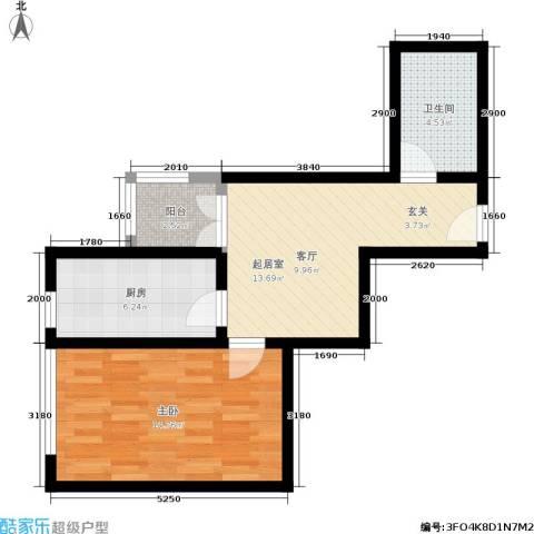定福庄住宅小区1室0厅1卫1厨50.00㎡户型图