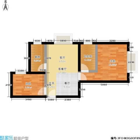 机神新村2室1厅1卫1厨53.00㎡户型图