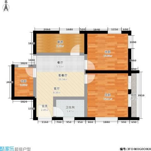 机神新村3室1厅1卫1厨65.00㎡户型图