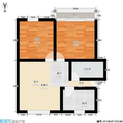 采荷东区2室1厅1卫1厨56.00㎡户型图