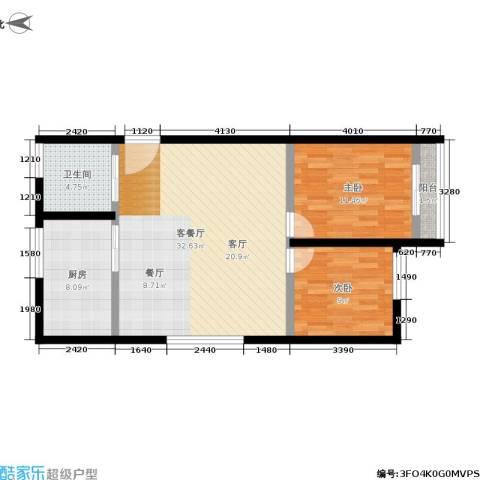 机神新村2室1厅1卫1厨77.00㎡户型图