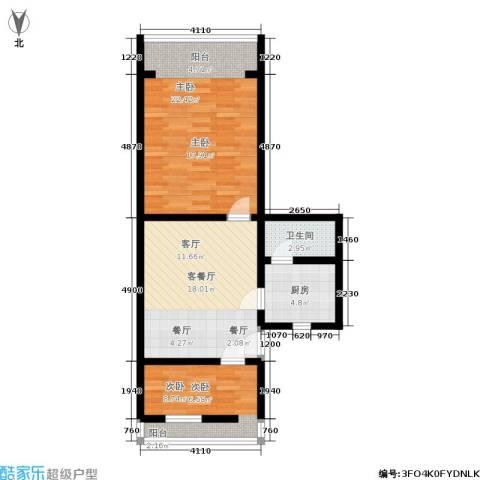 采荷东区2室1厅1卫1厨66.00㎡户型图