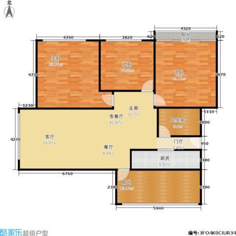 中江花园3室1厅1卫1厨130.00㎡户型图