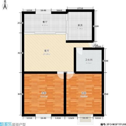 采荷东区2室2厅1卫1厨86.00㎡户型图