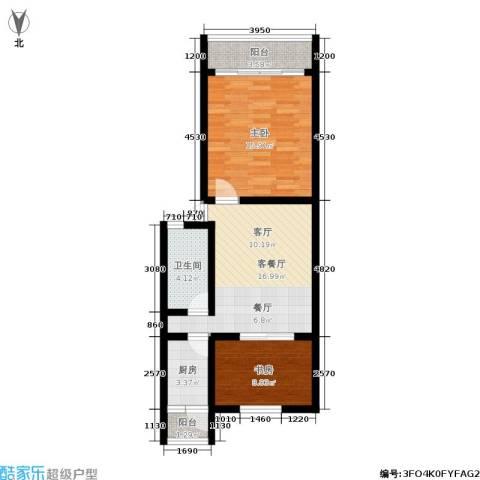 采荷东区2室1厅1卫1厨63.00㎡户型图