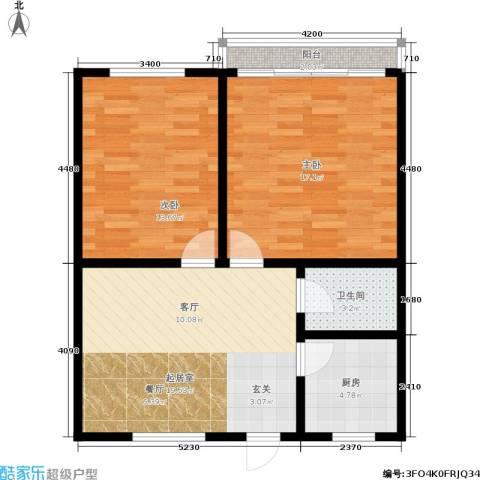 国都公寓2室0厅1卫1厨68.00㎡户型图