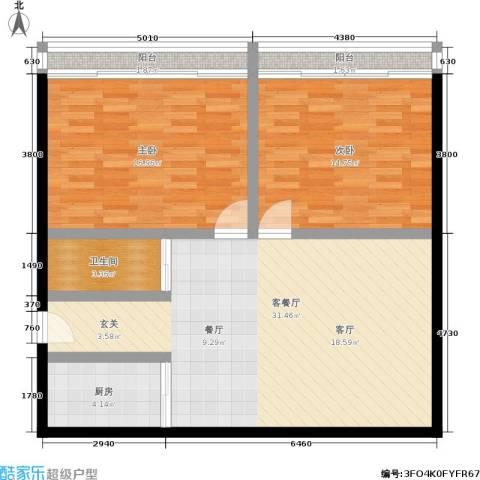 采荷东区2室1厅1卫1厨86.00㎡户型图