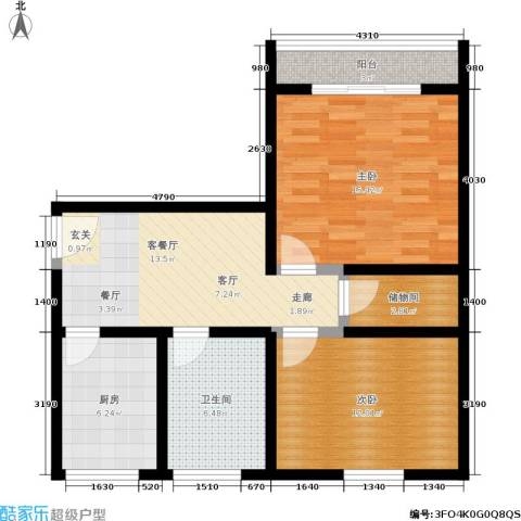 机神新村2室1厅1卫1厨70.00㎡户型图