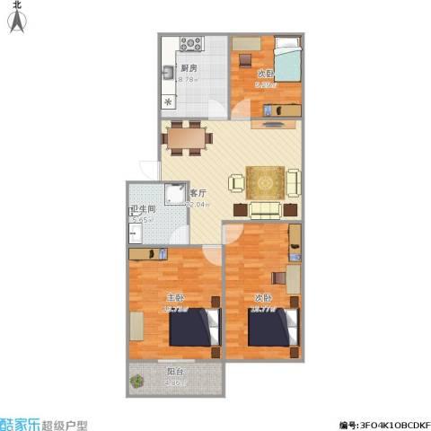 普利南辛花园3室1厅1卫1厨113.00㎡户型图
