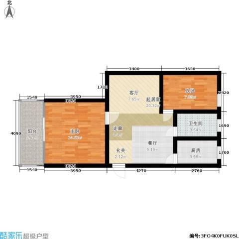 东都公寓2室0厅1卫1厨63.00㎡户型图