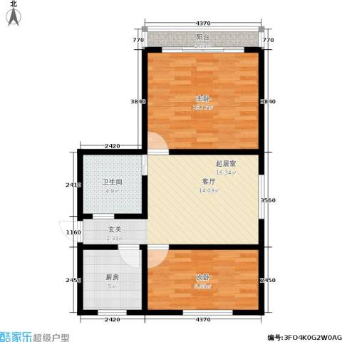 三塘北村2室0厅1卫1厨61.00㎡户型图