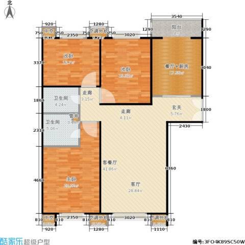 CBD总部公寓3室1厅2卫0厨129.00㎡户型图