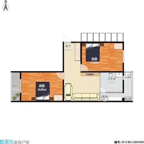 剧场东街小区2室1厅1卫1厨83.00㎡户型图