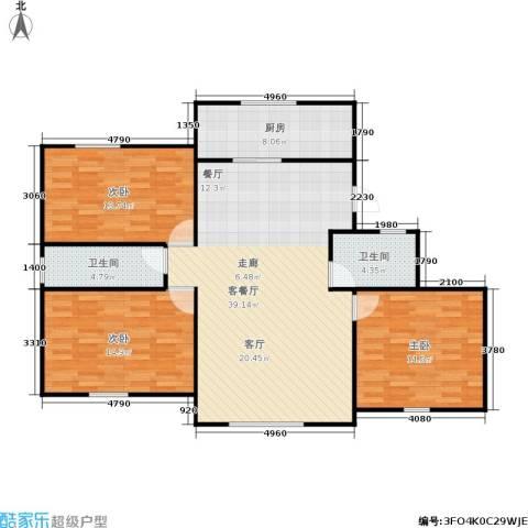 朝晖苑3室1厅2卫1厨106.00㎡户型图