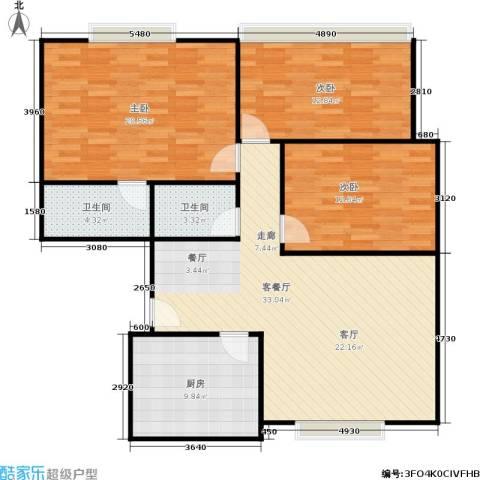 中江花园3室1厅2卫1厨102.00㎡户型图