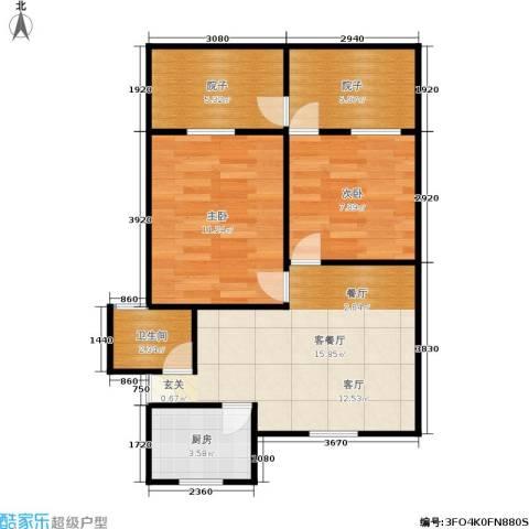 采荷一区2室1厅1卫1厨56.00㎡户型图