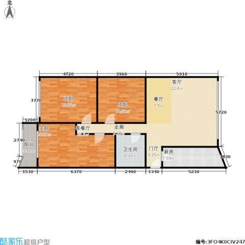 中江花园3室1厅1卫1厨115.00㎡户型图