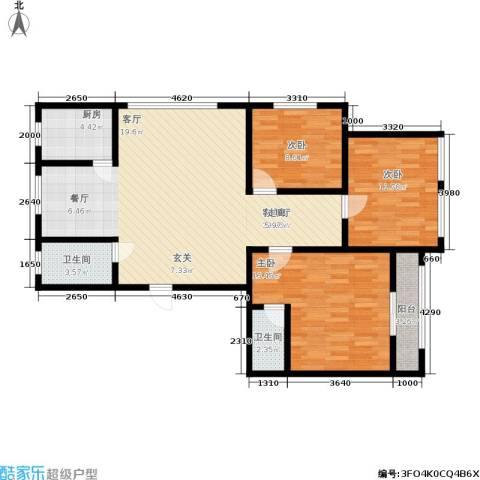 米兰公寓3室1厅2卫1厨101.00㎡户型图