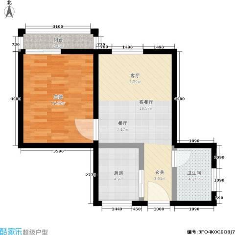 机神新村1室1厅1卫1厨52.00㎡户型图