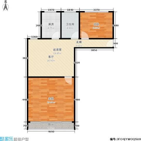 三里新城兰苑2室0厅1卫1厨65.00㎡户型图