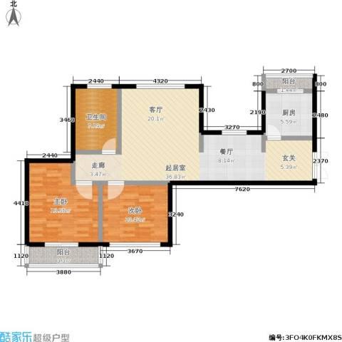 世茂・江滨花园2室0厅1卫1厨90.00㎡户型图