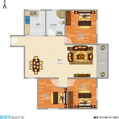 心悦园3室1厅1卫1厨105.00㎡户型图