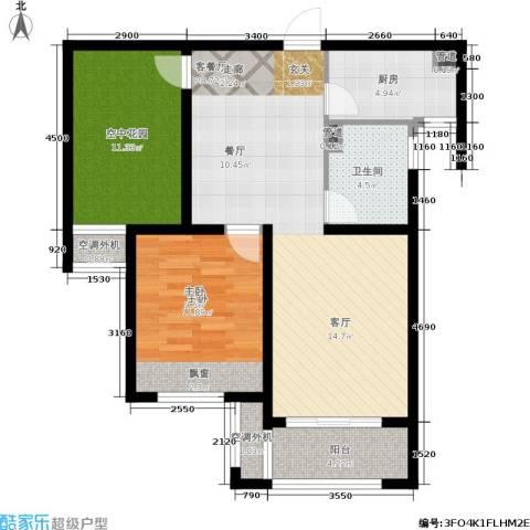 保利香槟国际1室1厅1卫1厨84.00㎡户型图
