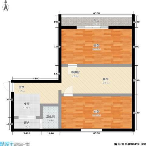 朝晖九区2室1厅1卫1厨80.00㎡户型图