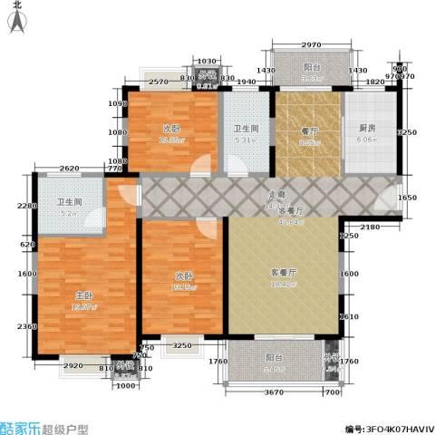 绿地世纪城3室1厅2卫1厨123.00㎡户型图
