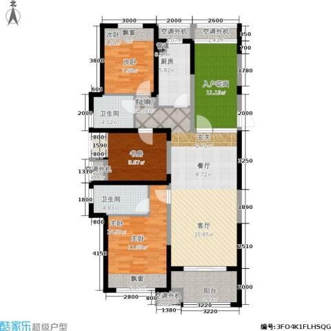保利香槟国际3室1厅2卫1厨124.00㎡户型图