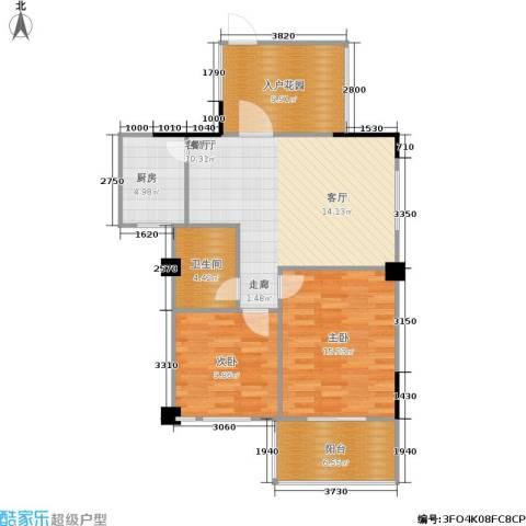 统建水岸人家2室1厅1卫1厨81.00㎡户型图