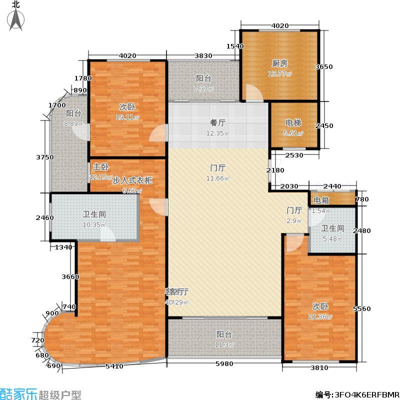 九英里颢苑224.00㎡A户型三室两厅两卫 224㎡户型3室2厅2卫
