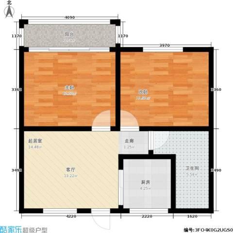三塘北村2室0厅1卫1厨60.00㎡户型图