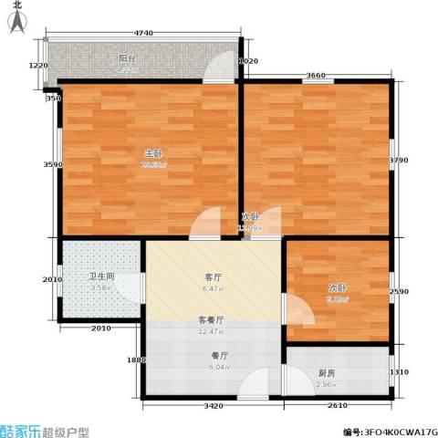 德胜新村南3室1厅1卫1厨63.00㎡户型图