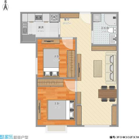 晓月景园2室1厅1卫1厨61.00㎡户型图