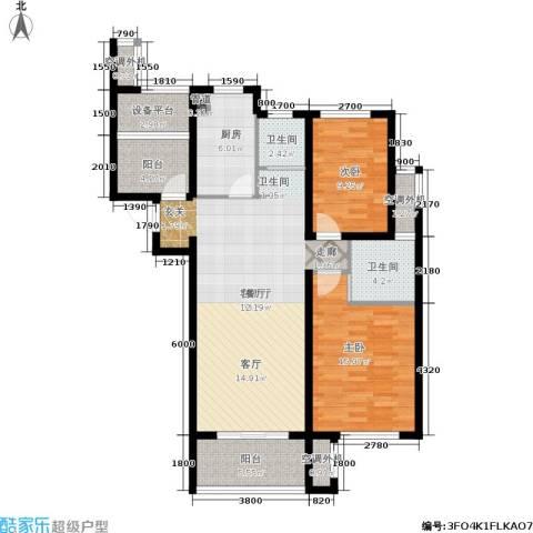 保利香槟国际2室1厅2卫1厨109.00㎡户型图