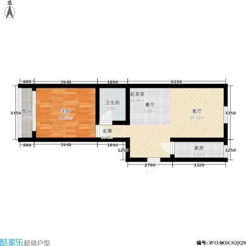 三里家园一区1室0厅1卫1厨52.00㎡户型图