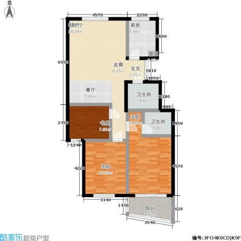 红树林花园3室1厅2卫1厨114.00㎡户型图