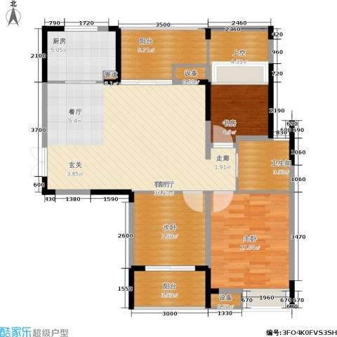 上东臻品3室1厅1卫1厨107.00㎡户型图