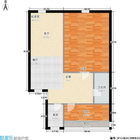 三里家园一区2室0厅1卫1厨93.00㎡户型图