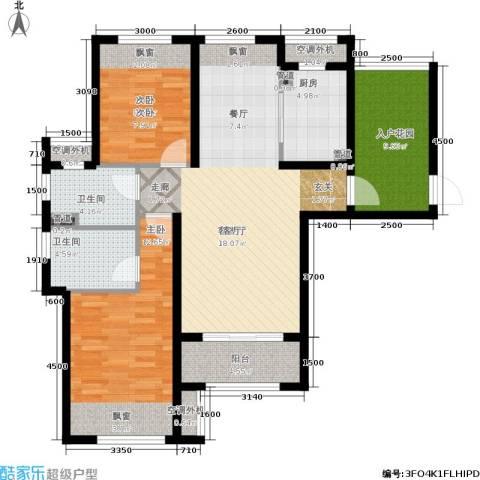 保利香槟国际2室1厅2卫1厨107.00㎡户型图