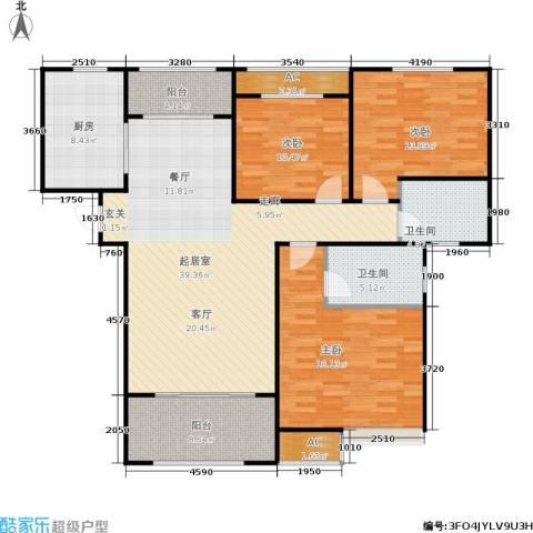 绿地香树花城3室0厅2卫1厨126.00㎡户型图
