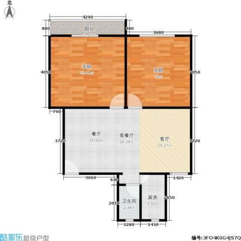 三塘竹苑2室1厅1卫1厨70.00㎡户型图