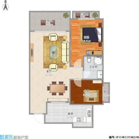 红地苑2室1厅1卫1厨106.00㎡户型图